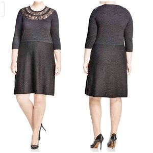 Vince Camuto Plus Lace Yolk Fit & Flare Gray Dress